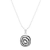 Silver-Tone Stainless Steel Black and White Resin Pendant