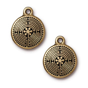 Antiqued 22K Gold Plated Labyrinth Pendant Charm 21mm