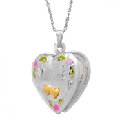 Duet Double Heart 'Mom' Locket Necklace in Sterling Silver and 14kt Gold