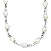 Honora 10-11 mm Freshwater Ringed Pearl Link Toggle Necklace in Sterling Silver
