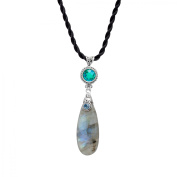 Sajen Labradorite Pendant Necklace with Rainbow Peridot Quartz in Sterling Silver