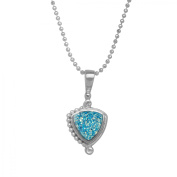 Sajen Paraiba Druzy Pendant Necklace in Sterling Silver Plate