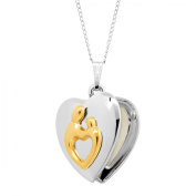 Mother & Child Heart Locket Necklace Pendant in 14kt Gold-Plated Sterling Silver