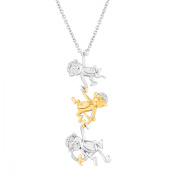 Duet Monkey Trio Pendant Necklace with Diamonds in Sterling Silver and 14kt Yellow Gold, 46cm