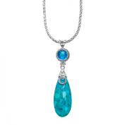 Sajen Turquoise Pendant Necklace with Rainbow Paraiba Quartz in Sterling Silver
