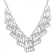 Beaded Bib Pendant Necklace in Sterling Silver