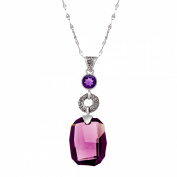 Sajen Pendant with Purple Crystal & Natural 2Purple in Sterling Silver