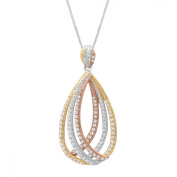 Layered Oval Pendant Necklace with Cubic Zirconia in 14kt Three-Tone Gold-Plated Sterling Silver