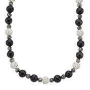 36cm Necklace with Crystals and Black Freshwater Pearls in Sterling Silver