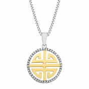 Duet 1/8 ct Diamond 'Longevity' Pendant Necklace in Sterling Silver & 14kt Gold