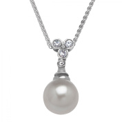 Van Kempen Art Deco Simulated Pearl Drop Pendant Necklace with Crystals in Sterling Silver