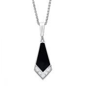 Van Kempen Art Deco Enamel & Crystals Necklace in Sterling Silver