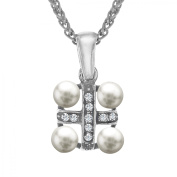 Van Kempen Victorian Simulated Pearl Cross Pendant Necklace with Crystals in Sterling Silver