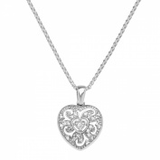 Van Kempen Art Nouveau Heart Pendant Necklace with Crystals in Sterling Silver