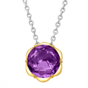 Duet 2 5/8 ct Natural Amethyst Scalloped Solitaire Pendant Necklace in Sterling Silver & 14kt Gold