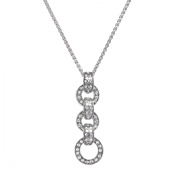 Van Kempen Art Deco Circle Drop Pendant Necklace with Crystals in Sterling Silver