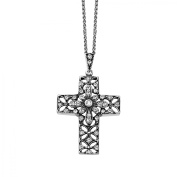 Van Kempen Victorian Cross Pendant Necklace with Crystal in Sterling Silver