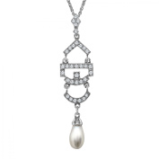 Van Kempen Simulated Pearl Pendant Necklace with Crystals in Sterling Silver