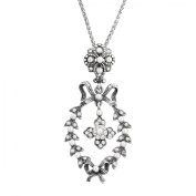 Van Kempen Victorian Simulated Pearl Wreath Pendant Necklace with Crystals in Sterling Silver