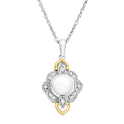 Duet Freshwater Pearl and 1/10 ct Diamond Pendant Necklace in Sterling Silver and 14kt Gold