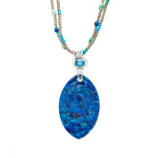 Sajen Carved Blue Turquoise Multi-Beaded Necklace in Sterling Silver