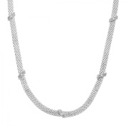 Mesh Cage Necklace with Diamonds in Sterling Silver
