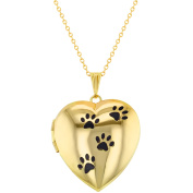 My Dog Paw Prints Animal Love Photo Pendant Heart Locket Necklace 48cm