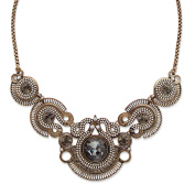 Round Grey and White Crystal Vintage-Inspired Bib Necklace in Antiqued Brass 43cm