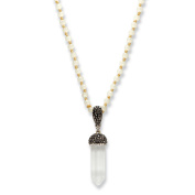 Black and White Crystal Baguette Acorn Bale Silvertone White Beaded Necklace 80cm