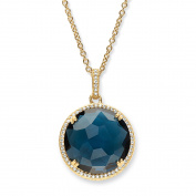 .31 TCW Checkerboard-Cut London Blue Simulated Sapphire and CZ Halo Necklace 14k Gold-Plated 46cm