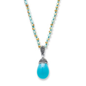 Simulated Turquoise and Crystal Silvertone Teardrop Beaded Pendant Necklace 80cm