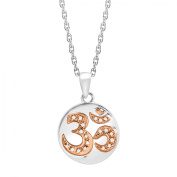Duet 'Om' Symbol Pendant Necklace with Diamonds in Sterling Silver & 14kt Rose Gold