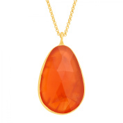 Piara 14 ct Natural Carnelian Pendant Necklace in 18kt Gold-Plated Sterling Silver