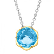 Duet 3 3/8 ct Natural Swiss Blue Topaz Scalloped Solitaire Pendant Necklace in Sterling Silver & 14kt Gold