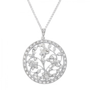 Van Kempen Art Nouveau Medallion Pendant Necklace with Crystals in Sterling Silver