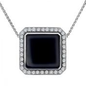 Van Kempen Enamel Art Deco Pendant Necklace with Crystals in Sterling Silver