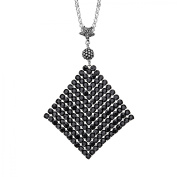 Aya Azrielant Mesh Pendant Necklace with Jet Black Crystals in Sterling Silver