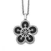 Van Kempen Art Deco Crystals & Black Enamel Flower Pendant Necklace in Sterling Silver