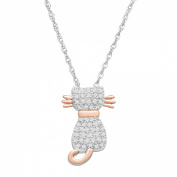 Duet 1/5 ct Diamond Cat Pendant Necklace in Sterling Silver & 14kt Rose Gold