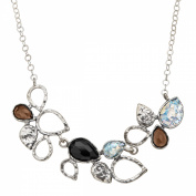 Smoky Quartz, Roman Glass & Onyx Vine Garland Necklacee in Sterling Silver