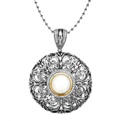 Duet Freshwater Pearl and Diamond Medallion Pendant Necklace in Sterling Silver and 14kt Gold