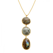 Piara 54 ct Natural Labradorite Triple Drop Pendant Necklace in 18kt Gold-Plated Sterling Silver