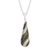 Duet 1/2 ct Champagne, Black & White Diamond Pendant Necklace in Sterling Silver & 14kt Gold
