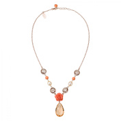 Zoccai 925 Pink Rhodolite and Freshwater Pearl Necklace in Rose Gold-Toned Sterling Silver