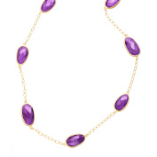 Piara 36 ct Natural Amethyst Station Necklace in 18kt Gold-Plated Sterling Silver