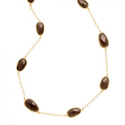 Piara 40 ct Natural Smokey Quartz Station Necklace in 18kt Gold-Plated Sterling Silver