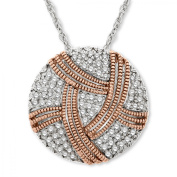 Duet 1/3 ct Diamond Disc Pendant Necklace in Sterling Silver & 14kt Rose Gold