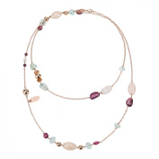 Zoccai 925 Multi Gemstone Long Layering Necklace in Rose Gold-Toned Sterling Silver
