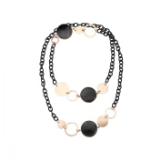 Zoccai 925 Jet Quartz Mesh Link Necklace in Pink Gold-Toned Sterling Silver