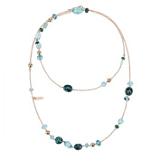Zoccai 925 Blue Quartz & Blue Topaz Necklace in Rose Gold-Toned Sterling Silver